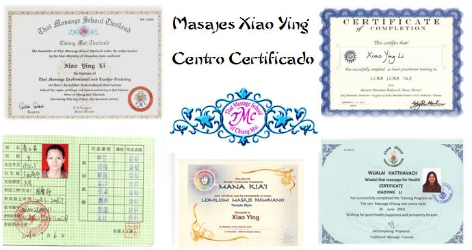 certificaciones centro masajes orientales xiao ying Madrid